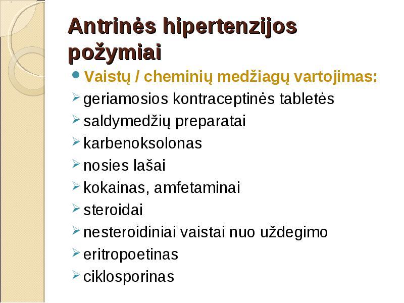 išemijos ir hipertenzijos požymiai